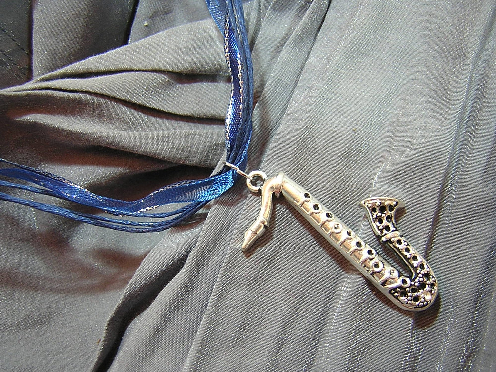 Silver Saxophone on Blue Fancy Ribbon Necklace - Handmade by Rewondered D225F-00001 - $11.95