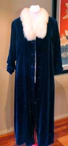 Vintage 1940s Blue Velvet Evening Coat with Faux Fur - AS IS