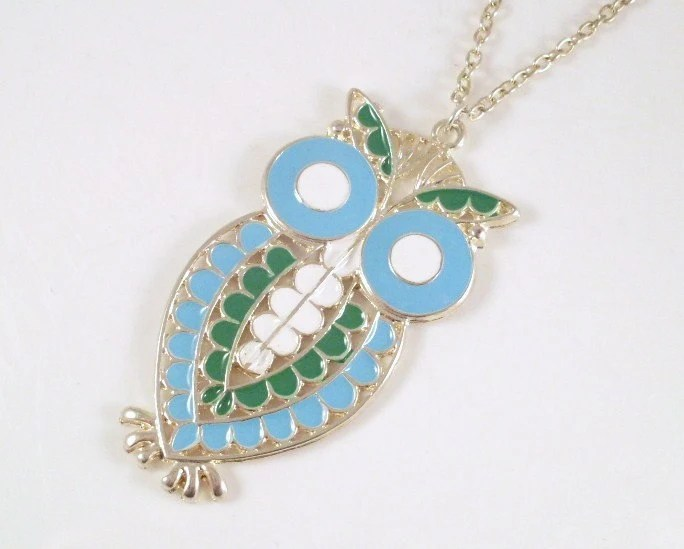 Vintage Blue, Green and White Enamel and Silvertone Owl Necklace