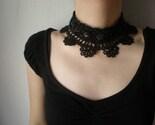 Black Lace - Viola Tricolor .... Beaded Crochet Necklace - Flowers