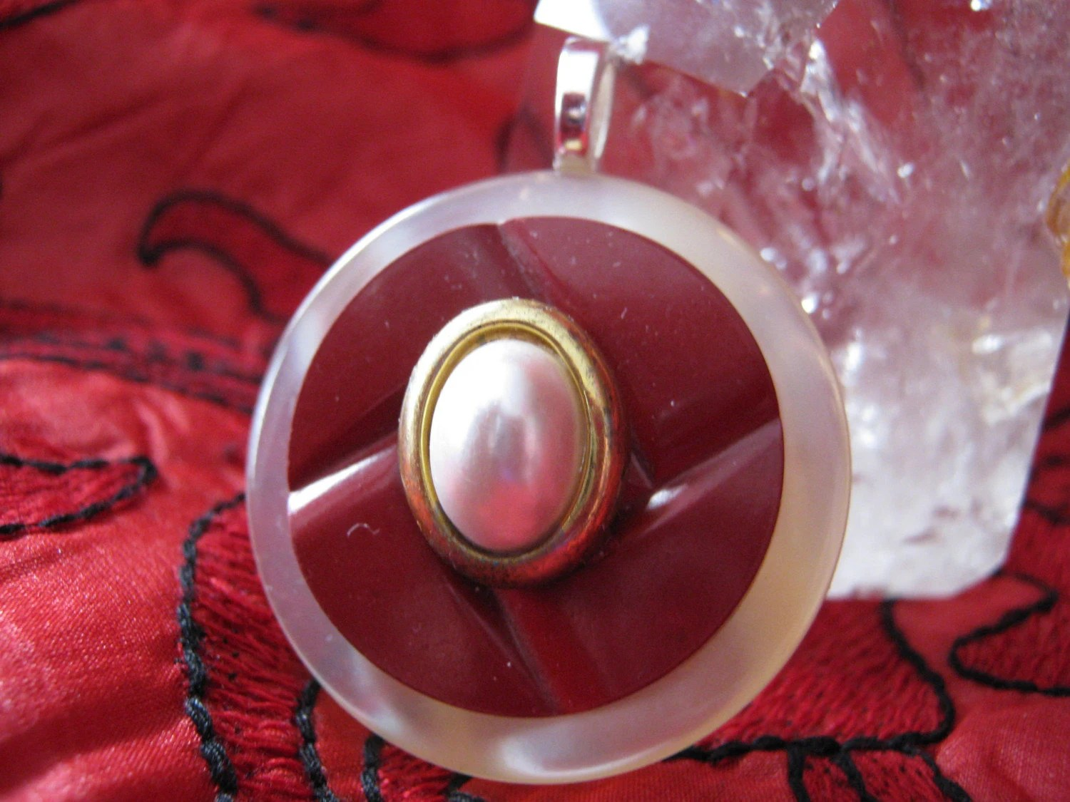 Pearl, Vintage Button Pendant Necklace with leather cord