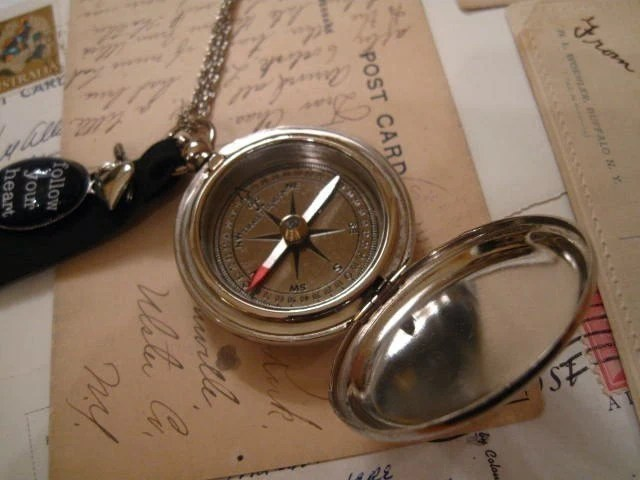 Where is Here Silver Tone Compass Necklace