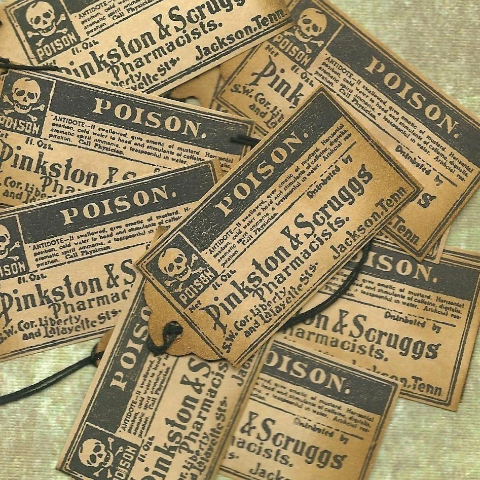 Name Your Poison Goth Halloween Trick or Treat Gift Tags Set of 10