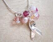 Breast Cancer Awareness Sterling Silver Swarovski Crystal Necklace