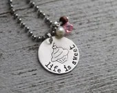 LIFE IS SWEET cupcake necklace