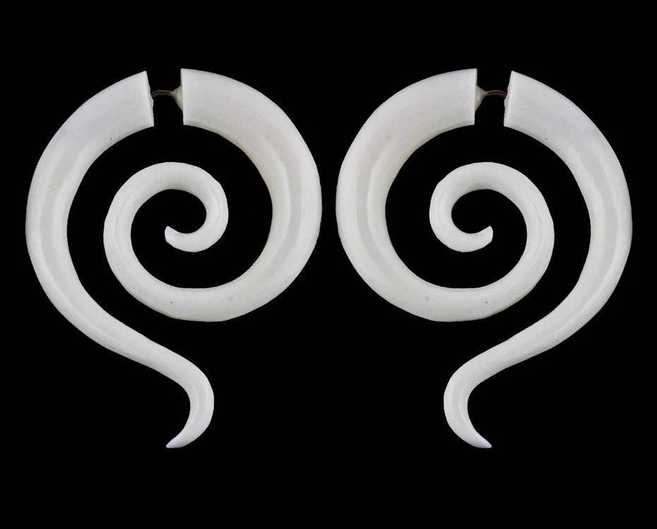 Luna Spirals - Bone Fake gauges