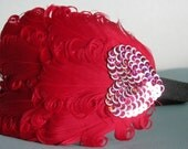 Valentines Day RED Feather Headband with Sequin Heart Accent FEATURED IN ETSY GARNET GIFT GUIDE