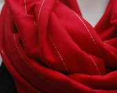 Studio 54 Wide Wrap Infinity Scarf Red / Silver