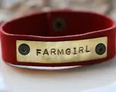 Farmgirl Leather Cuff Bracelet in Red Suede