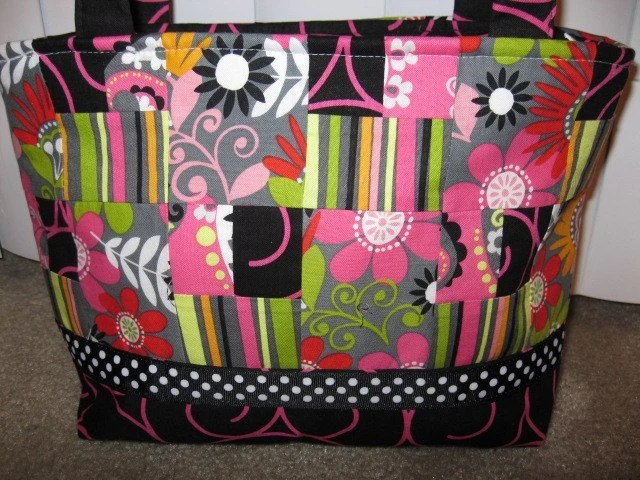 Bright Pink/Black/Green Patchwork Purse