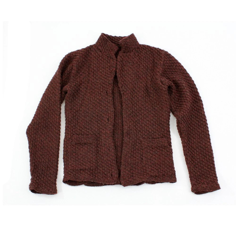 vintage hand knit RUSTIC CHESTNUT soft cardigan