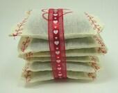 6 Valentine's Day Lavender Sachets, Organic Aromatherapy