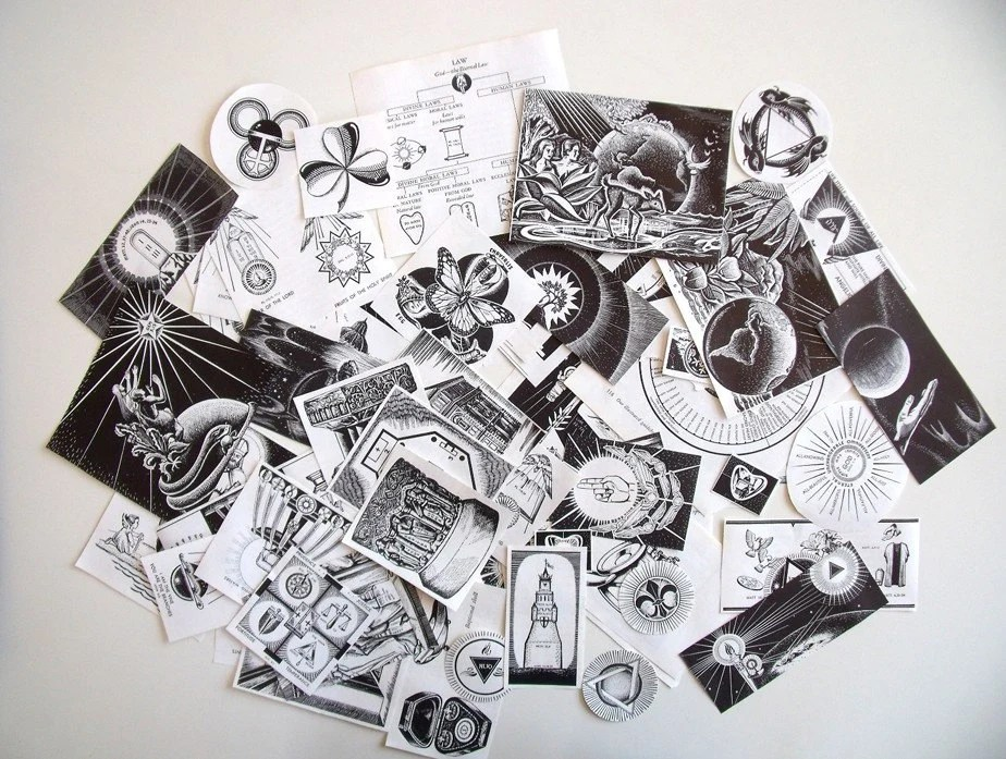 1950's STUNNING Lot of Religious Christian Iconography & Symbols Images - Black and White - For Collage Altered Art Scrapbooking