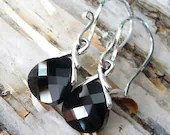 Faceted Jet Black Swarovski Crystal Briolette Sterling Silver Dangle Handmade Earrings