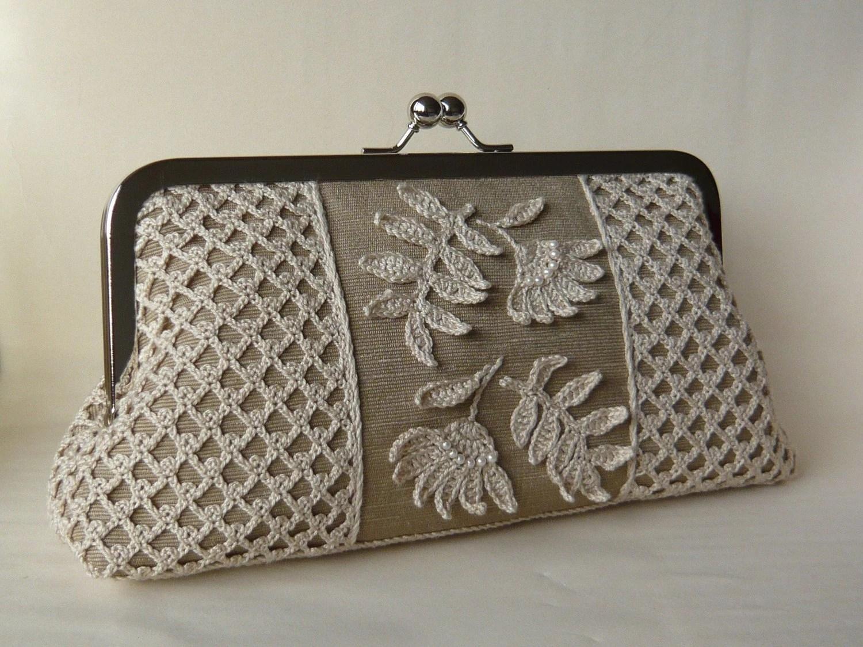 Irish crochet clutch bag