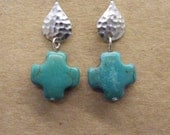 Chalk Turquoise Cross and Matte Silver Drop Earrings