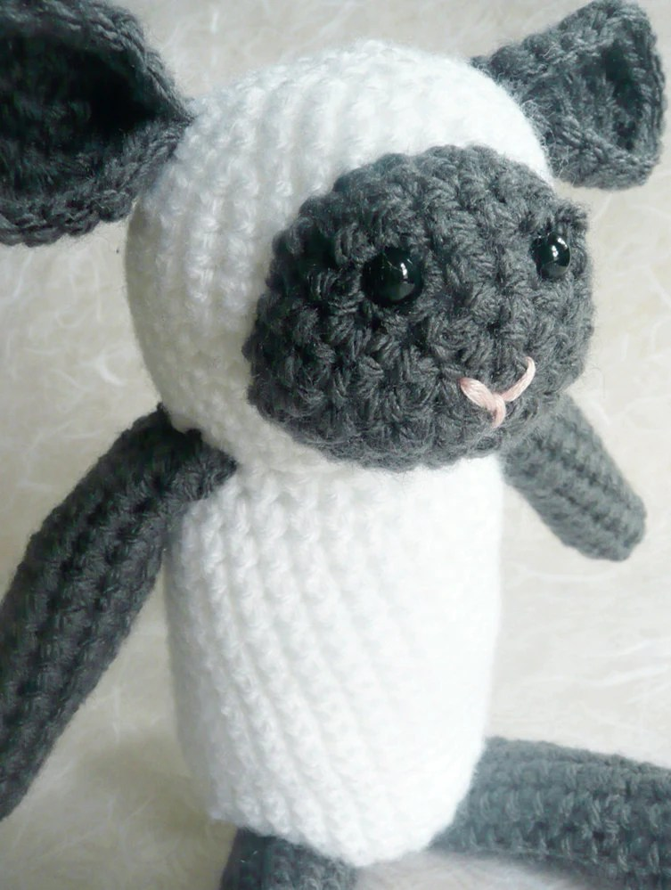 "White and Gray crochet lamb - 9"" tall - READY TO SHIP"