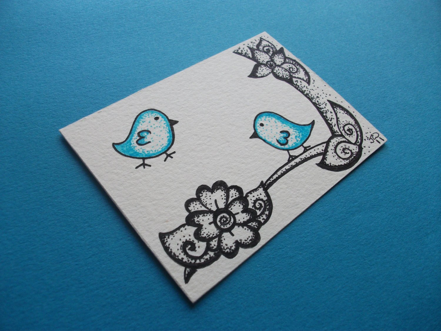 Blue Dotty Birds, ACEO Original Ink Drawing