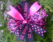 LIttle Sister...Spike bow...black...shocking pink... custom made...dds darlings...free shipping