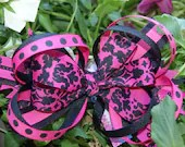 Black...shocking pink...bow...damask...cross....alligator clip...french barrette...headband....free shipping...ready to ship