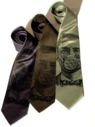 Gasmask silkscreened microfiber necktie