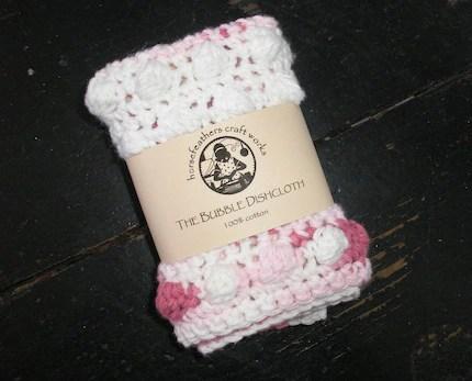 The Bubble Dishcloth in Cherry Swirl with White Stripe - 100 Percent Cotton