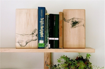 Stubborn Foot Bookend (original drawing on solid wood)