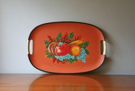 vintage orange serving tray