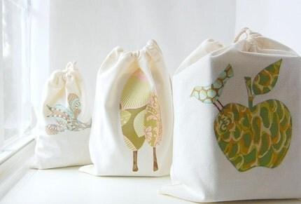 organic reusable produce bags - set of 3