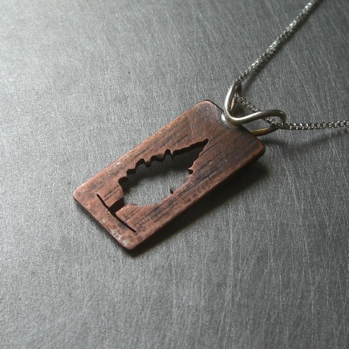 Copper/Silver Reversible Cedar Tree Pendant (back)