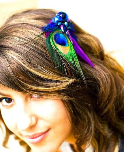 Bora Bora Azul Blue Hair Fascinator, Hairclip, Bridal hair piece, feather barrette