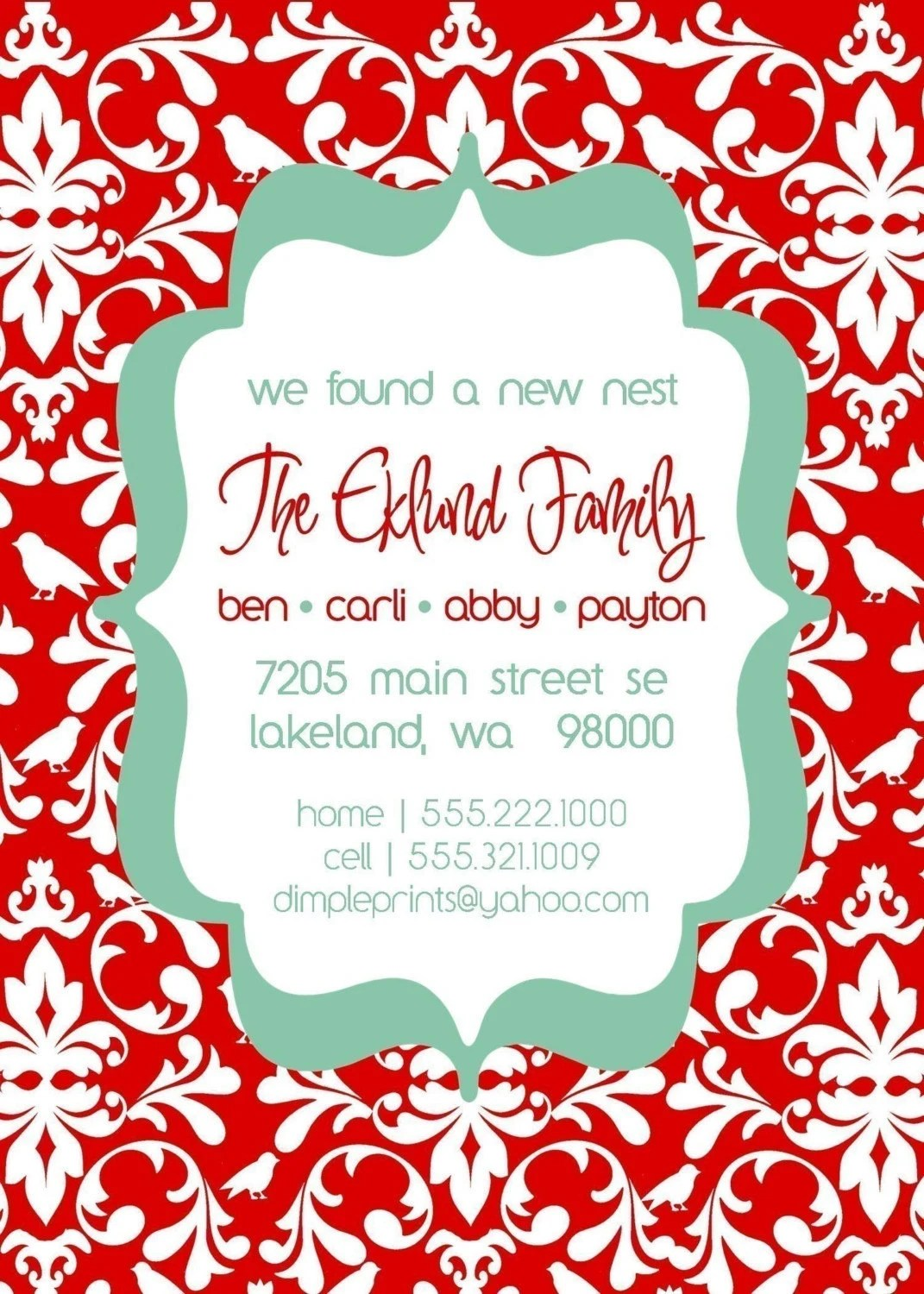 Bird Damask...Custom You Print Digital Just Moved..New Address Card