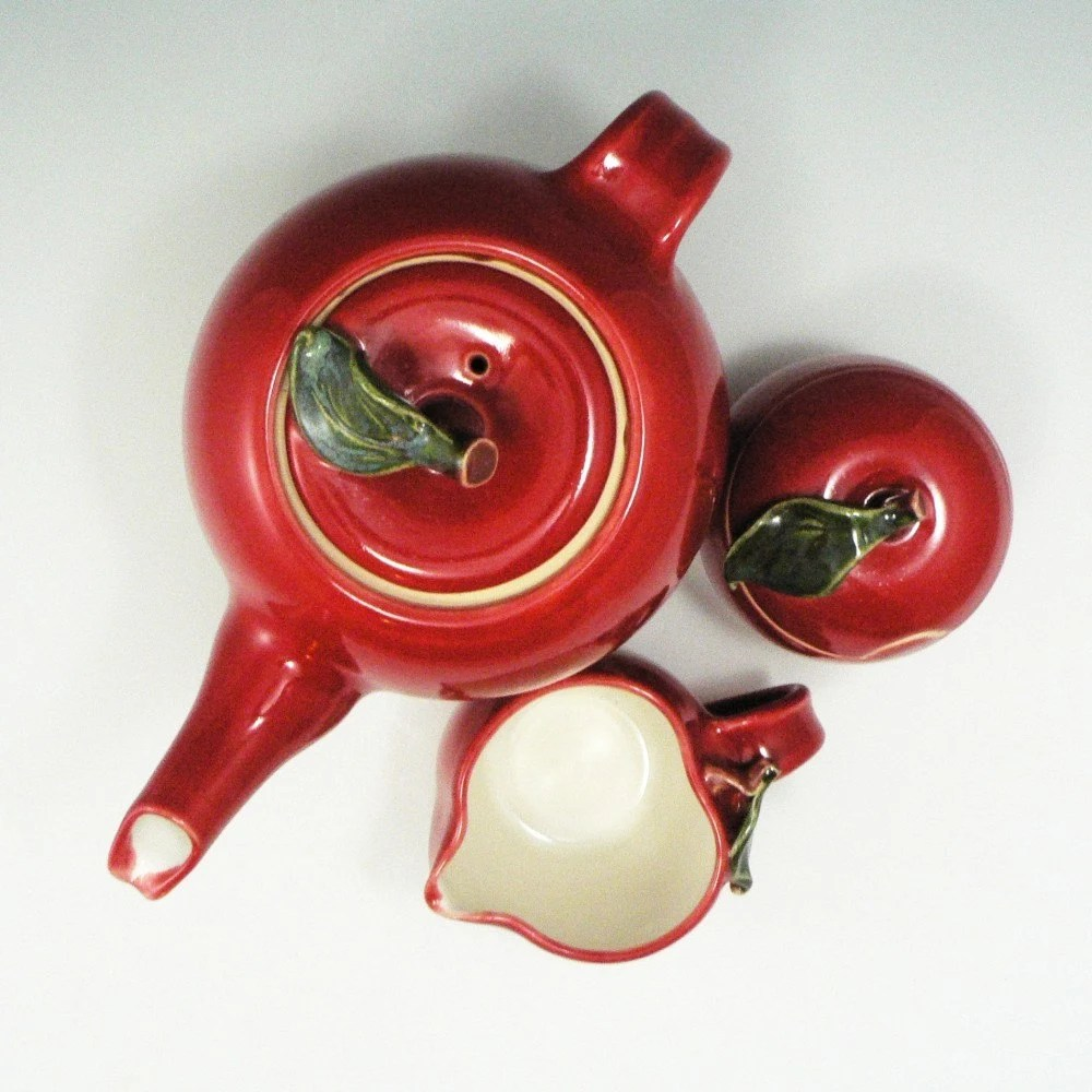 Red Apple Teaset -3 pieces / Handmade Wheel Thrown Pottery