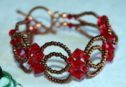 Joni Beaded Bracelet (Red and Copper)