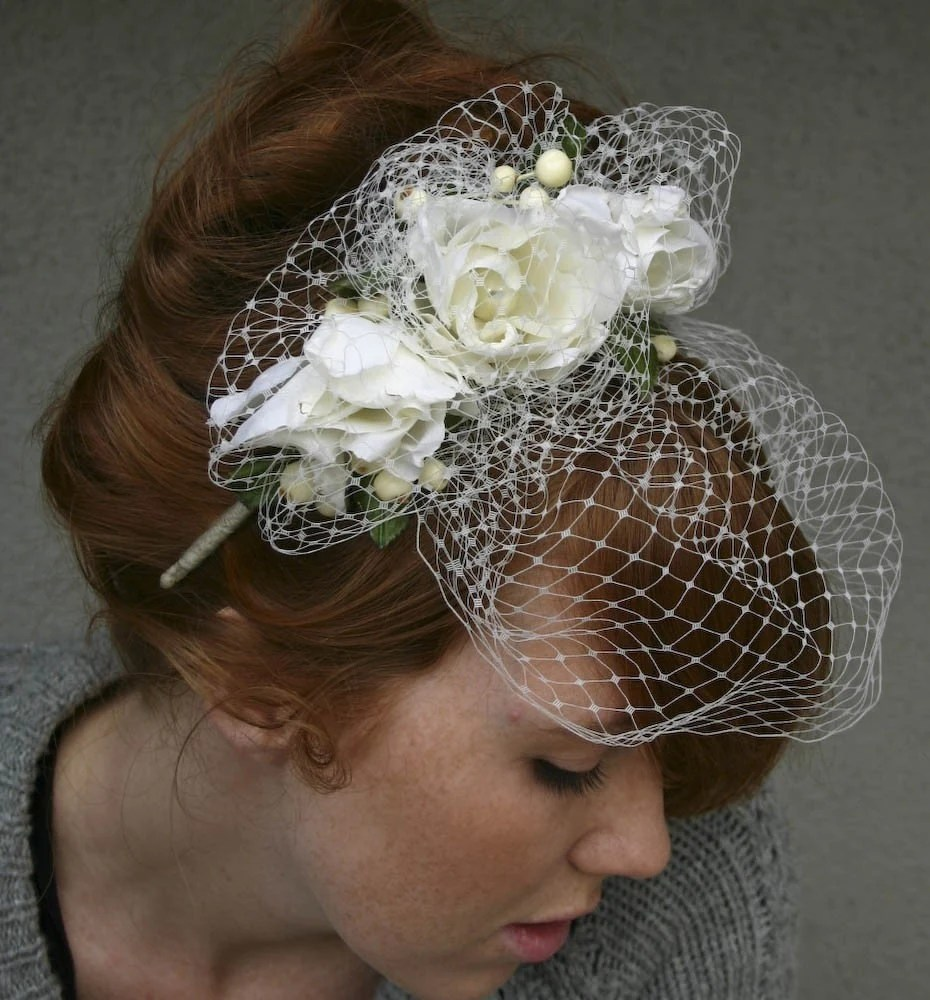 Romantic Ivory roses and netting birdcage veil headband