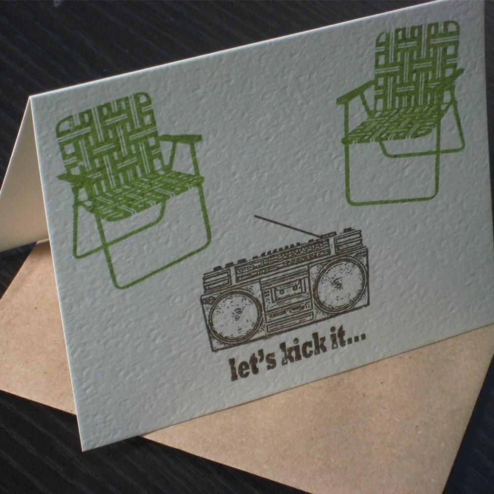 Let's Kick It, Gocco Screen-Printed Card
