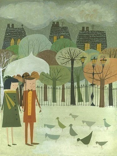 Feeding Birds. Limited edition print by Matte Stephens