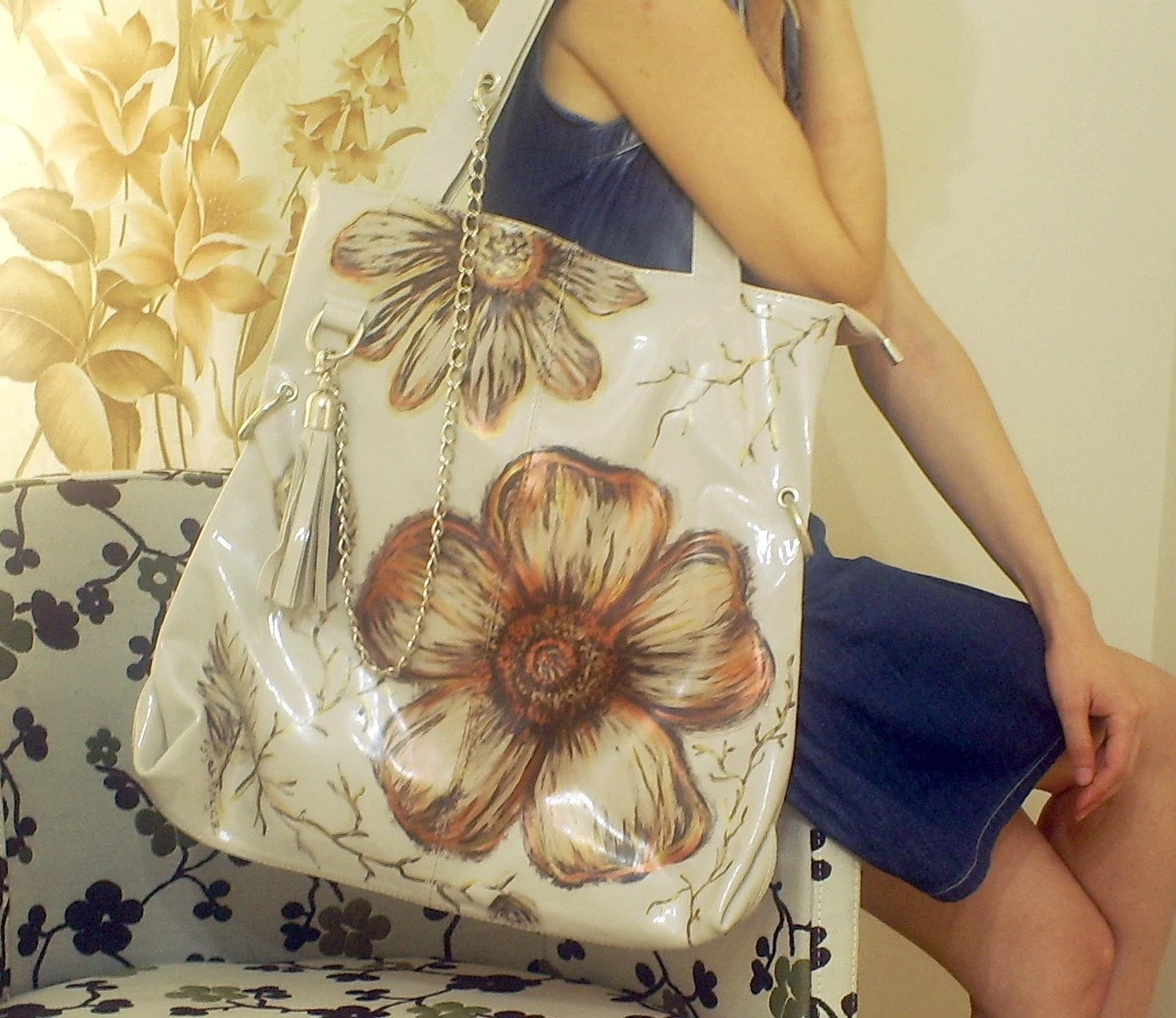 BIG FLOWER  Handpainted Tote