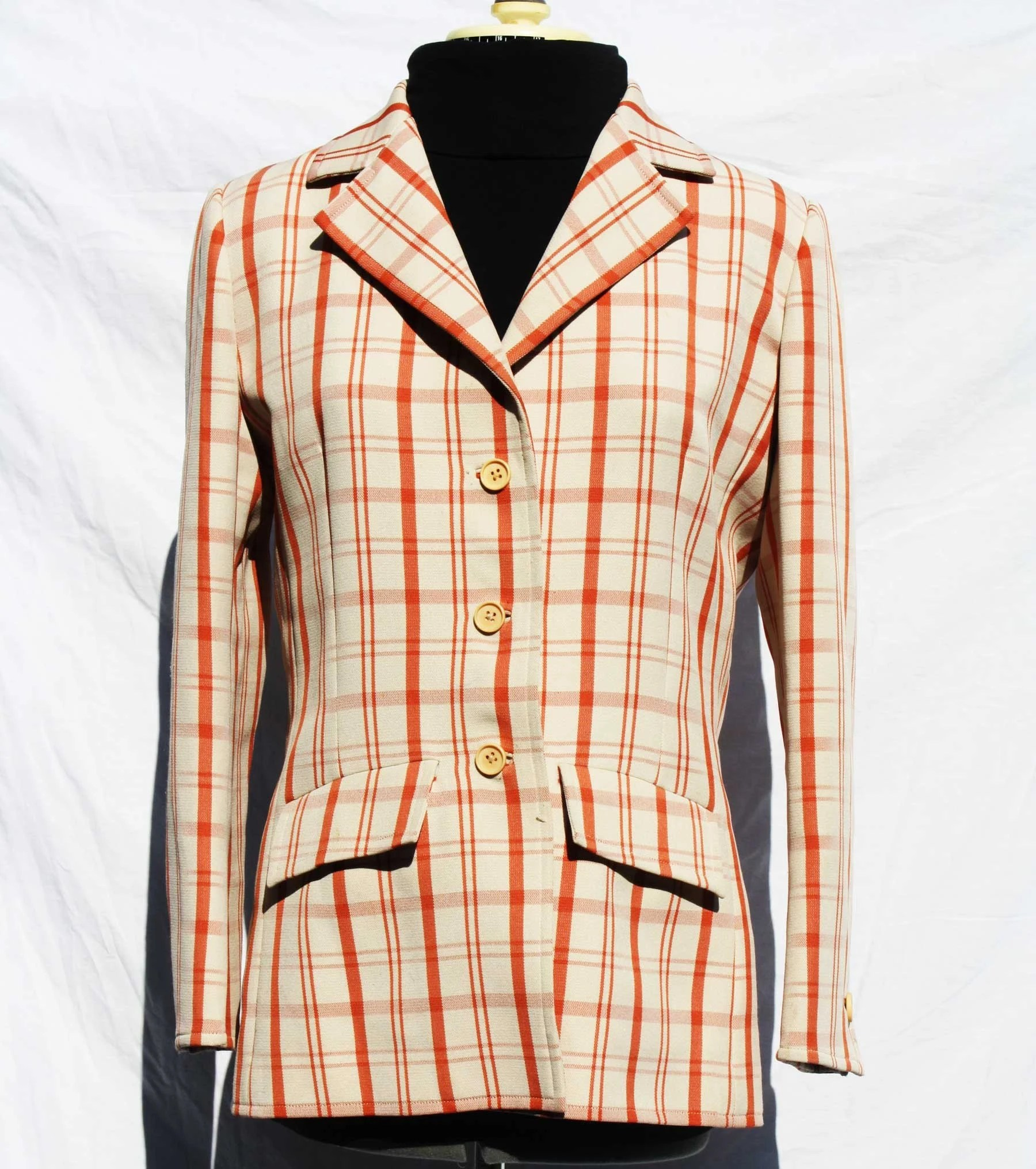 Vintage Ladies Orange Plaid Blazer