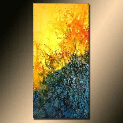 MAGIC OF LIFE-FREE SHIPPING-48X24X1.58 INCH-ORIGINAL MODERN ABSTRACT PAINTING-,BY.HENRY PARSINIA