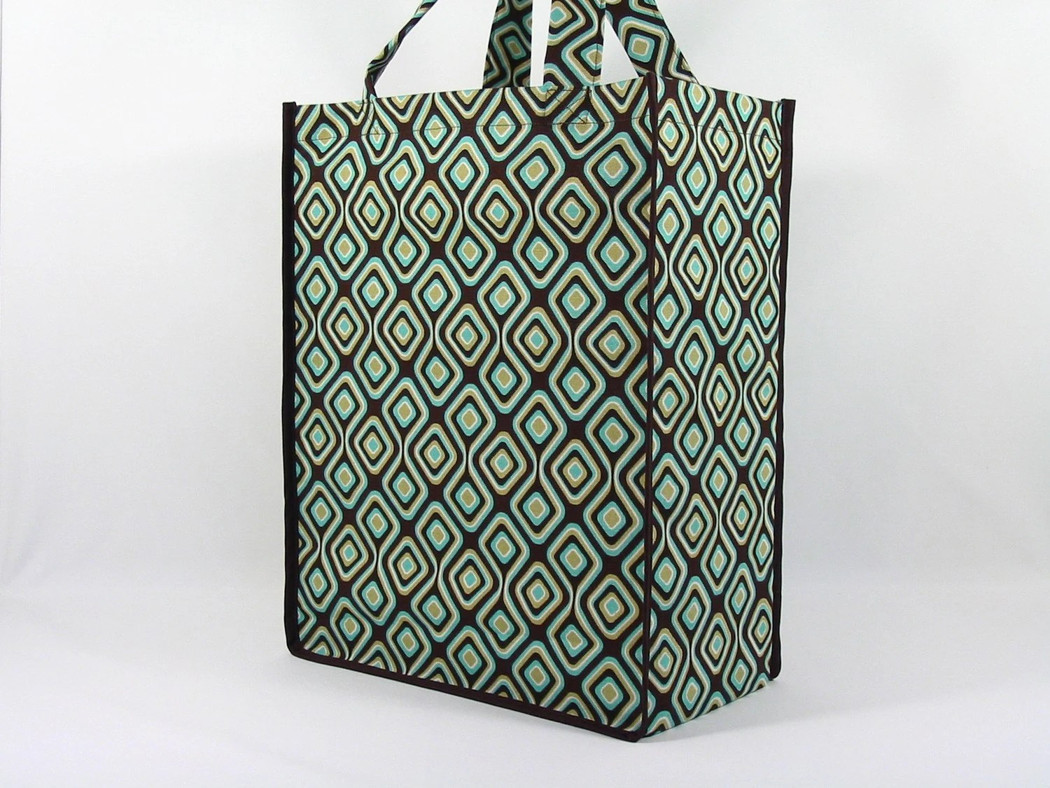 Reusable Multi-Functional Tote Bag-Chocolate/Natural Geometric