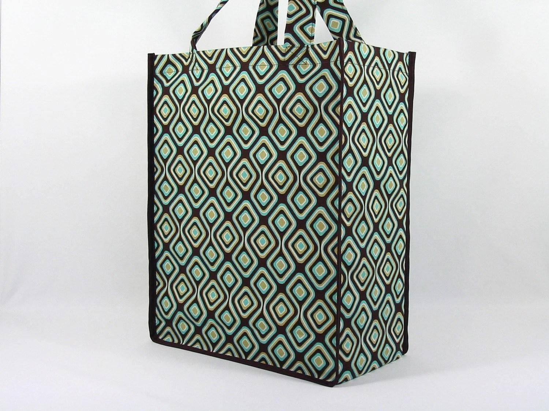 Reusable Multi-Functional Tote Bag-Chocolate/Natural Geometric
