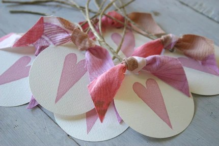 Hand Stamped Gift Tags - Pink Heart