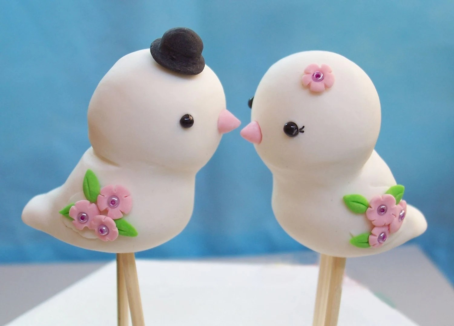 Cute Love birds wedding cake toppers -Custom details and colors