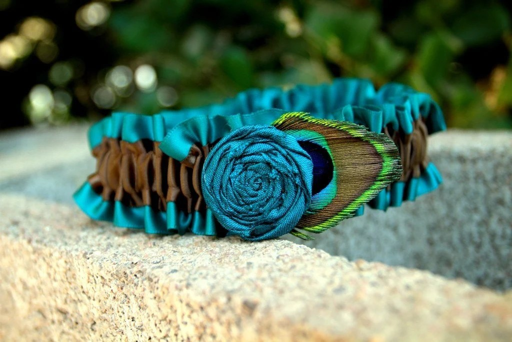 Chocolate Brown and Deep Turquoise Garter With Rosette and Peacock Feather
