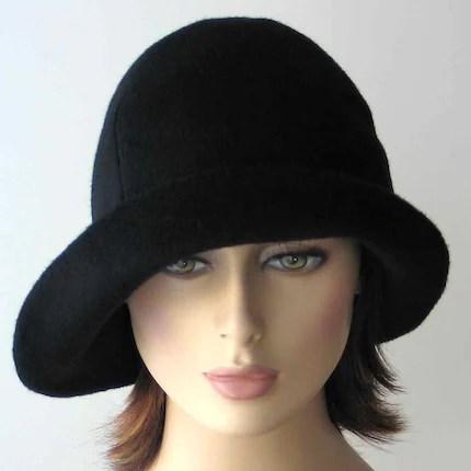 Black wool cloche