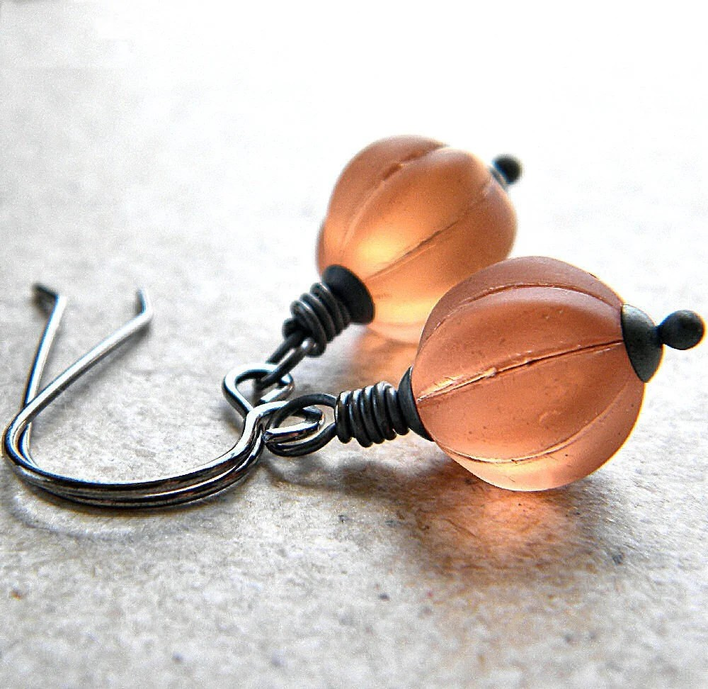 Frosted Apricot Glass Melon Oxidized Sterling Silver Earrings - Peaches