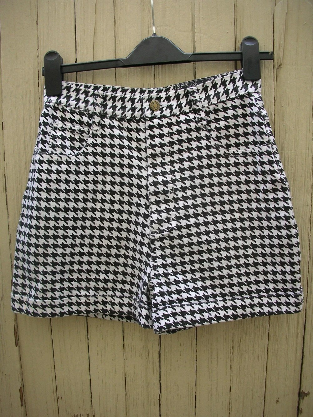 Houndstooth High Waisted Denim Shorts Free Shipping