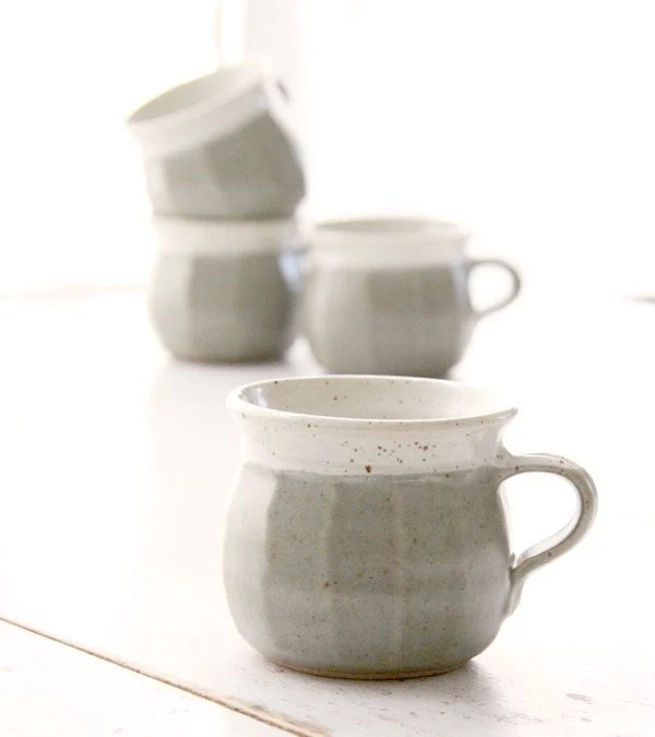 Set of 4 Handthrown Glazed Stoneware Mugs