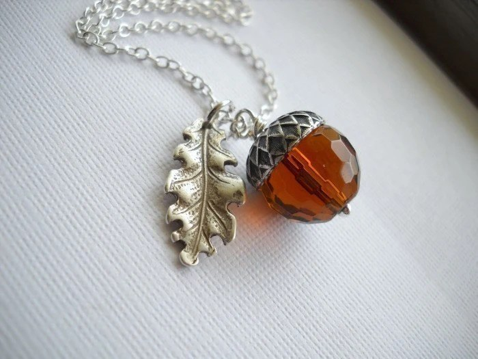 Autumn Acorn and Oak Leaf Necklace